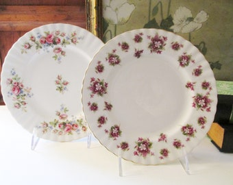 Two Vintage Royal Albert Dessert Plates, Moss Rose, Sweet Violets, Made In England, Garden Party Plates