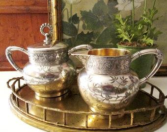 Victorian James Tufts Aesthetic Creamer and Sugar Set, Antique Quadruple Silver Plate, Boho Silver Set, Granmillennial,