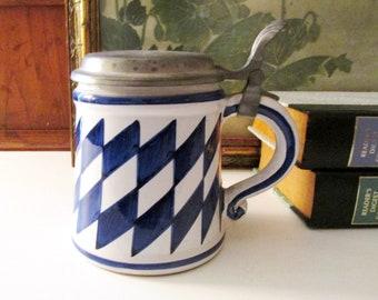 Vintage German Handgemalt Stein, Blue and White Tankard, Hand Painted Graphic Art, Lidded Mug