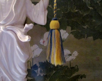 Houlès, Paris, French Yellow and Blue Wool Key Tassel, French Country Decor, Houles Paris Tassel