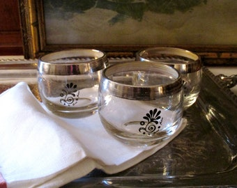Three Vintage Fred Press Glassware, Silver Band Roly Poly Glasses, Retro Barware, Low Ball Glasses