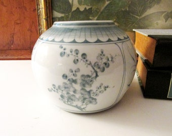 Vintage Chinoiserie Vase, Decorative Oriental Bowl, Entry Round Flower Vase, Teal and White Hand Painted, Cherry Blossom Thailand Vase