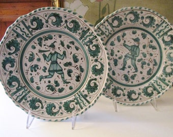 Vintage Italian Pottery Plates, Grazia Deruta, Teal Blue and White Hand Painted Wall Plates, Italian Country Decor