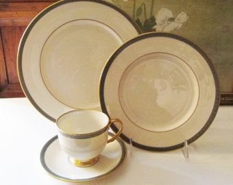 "Vintage Lenox USA ""Patriot"" Dinnerware Plate by Lenox, Elegant Dining, Gold Trim, 1980's, Holiday Table, Wedding China"