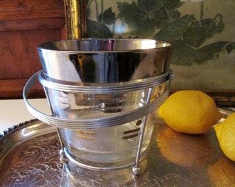 Retro Glass Ice Bucket with Handled Stand, Silver Rim Mod Ice Bucket, Mad Men Decor, 1960's Vintage Barware