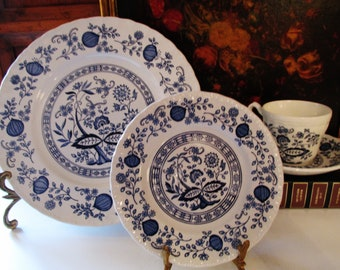 Enoch Wedgwood Blue Heritage Dinner Plate, English Blue and White Cup and Saucer, Blue Onion, Chinoiserie Decor, Bread and Butter Plate