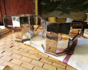 Wallace Alden Sugar and Creamer Set, Mini Silver Plated Open Sugar Bowl and Creamer, Art Deco Style Serving Set