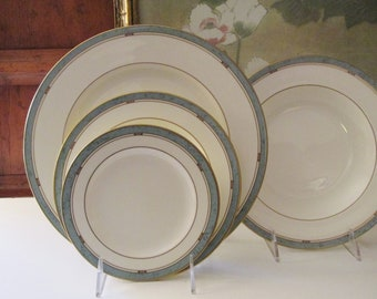 """Vintage Pfaltzgraff USA """"Patina"""" Dinnerware, Dinner Plate, Salad Plate, Rim Soup, Bread and Butter, Ivory and Teal Elegant Dining"""