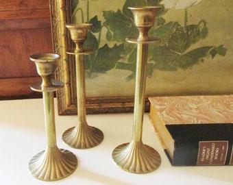 Brass Set of Three Graduated Candleholders, Hollywood Regency, Mantel Decor, Christmas Brass, Wedding Brass, Brass Candlesticks