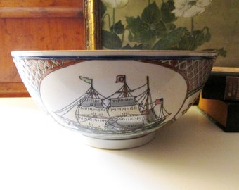 Vintage Nautical Decorative Bowl, Sailboat Theme Bowl, Coffee Table Decor, Beach Coastal, Palm Beach Decor