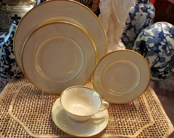 5 Piece Lenox Mansfield Place Setting, Gold Rim Dinnerware, Wedding China, Elegant Dining, Hollywood Regency, Lenox USA