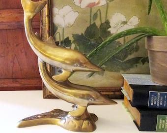 Brass Dolphin Figurine, Mounted Brass Dolphins, Coastal Living Decor, Beach Cottage, Beach House Decor