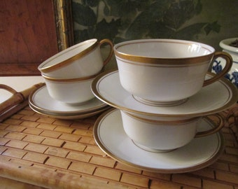 Four Old Colony Teacups and Saucers, Syracuse China Gold Trim China, Elegant Dining, Wedding China, Small Coffee Cups