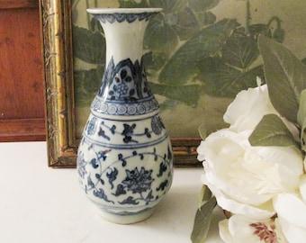 Vintage Blue and White Vase, Chinoiserie Blue Transferware Vase, Palm Beach Decor, Blue And White