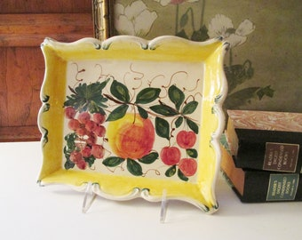 Vintage Italian Pottery Plaque, Hand Painted Fruit Wall Tray, Kitchen Decor, Italian Country Kitchen,
