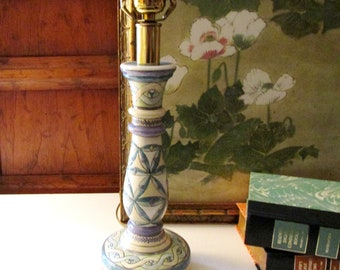 Vintage Hand Painted Candlestick Lamp,