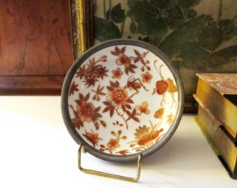 Vintage Decorative Floral and Pewter Catchall, Coral Flowers, Grasshopper, Cricket, Vintage Gift, Chinoiserie Decor, Japanese Porcelain