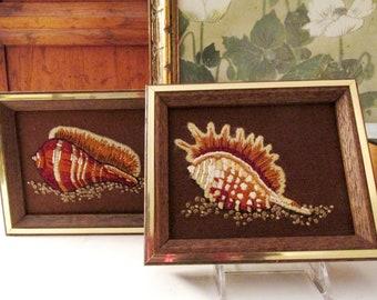 Two 1970's Sunset Designs Pair of Embroidered Fiber Art, Sea Shell Boho Art, Coastal Beach, Chinoiserie Shell Wall Decor