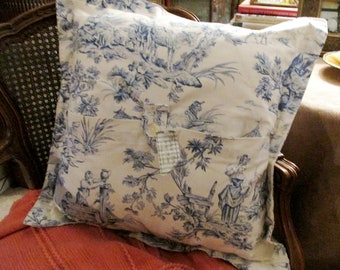 Blue and White Toile Pillow Cover, Large 24 x 24 Toile Pillow, Patricia Spratt for the Home, Conn., English Country, French Country