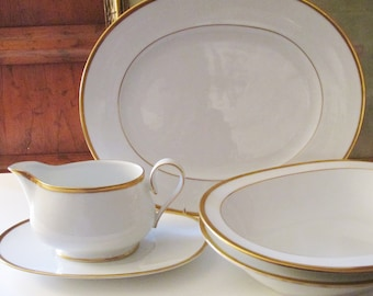 "Vintage Noritake Ireland Dinnerware, Made In Ireland, ""Carrie"", Gravy Boat, Platter, Oval Serving Bowl, Gold Band China,"