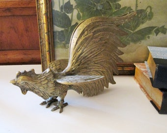 Vintage Brass Rooster, Farmhouse Chic, Brass Bird, Mantel Decor, Thanksgiving Table Decor, Standing Rooster Figurine