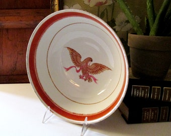 Early Americana Style Centerpiece Bowl,  Eagle Patrotic Bowl, Pink and White Decorative Eagle Bowl