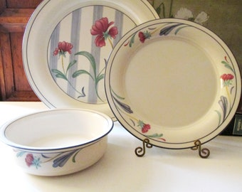 "Lenox ""Poppies On Blue"" Chinastone Dinnerware, Salad Plate, Dinner Plate, Soup/Cereal Bowl, Blue and White Floral China"