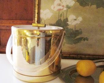 Georges Briard Hollywood Regency Ice Bucket, Golden and Lucite Ice Bucket, Reto Barware, Bar Cart Decor