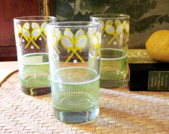 Set of Three Tennis Tumblers, Tennis Racquets and Net Glassware by J. SCOTT, Retro Yellow and Green Hi Ball Glasses