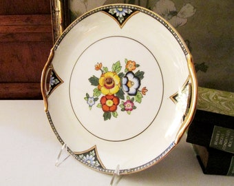 Noritake Handled Floral Plate, Vintage Hand Painted Decorative Plate, Hand Painted, Made in Japan, Gold Trim