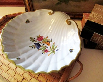 Italian Clam Shell Style Catchall, Hand-Painted Pottery Dish, Hollywood Regency, Coffee Table Decor, French Country Decor