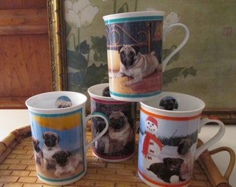 Vintage Pug Mugs, Purely Pugs Porcelain Collection Mugs, The Danbury Mint, Set of Four, Gift for Dog Lover