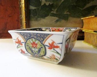 Vintage Imari Dish, Chinoiserie Square Dish, Porcelain Nut Dish,Home Office Decor, Hollywood Regency, Oriental Trinket Dish