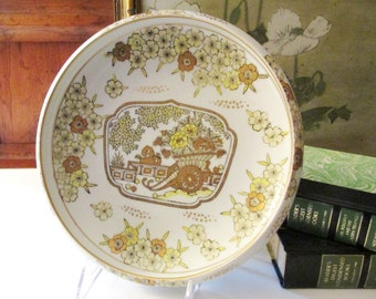 Vintage Gold Imari Dish, Large Bonsai and Floral Design Dish, Decorative Dish, Chinoiserie, Japanese Porcelain, Gold and Yellow Imari Dish