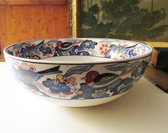 Vintage Peacock Bowl, Chinoiserie Chic Decorative Bowl, Coffee Table Decor, Transferware Bowl, Fruit Bowl
