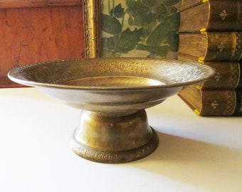 Vintage Brass Footed Bowl, Boho Chic, Hollywood Regency Footed Dish, Brass Catchall, Etched Brass Compote