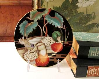 Vintage Fitz and Floyd Duck Salad Plate, Mallard Pond, Hollywood Regency, Chinoiserie Design,
