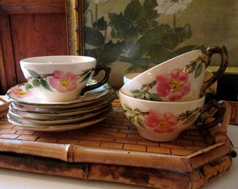 Four Vintage Desert Rose Teacups and Saucers Sets, Franciscan Ware, Made in USA, Pink and Green Teacups and Saucers