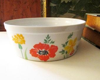Taste Setter by Sigma, Souffle Pan Primavera, Spring Flowers, 1970's Retro Floral Bowl, Popcorn Bowl, Ovenware