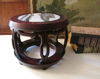 Vintage Dark Wood And Marble Top Stand, Chinoiserie Chic Plant Stand, Oriental Rosewood Stand