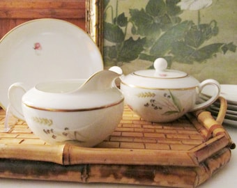 Vintage Arzberg Germany Sugar Bowl and Creamer, Small Plates, Eight Bread and Butter Plates, Romantic Floral China
