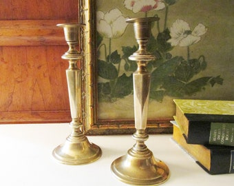 Vintage Brass Candlesticks, Mantel Decor, Brass Candleholders, Hollywood Regency, Brass Decor, Chinoiserie Chic