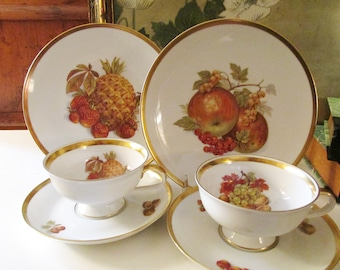 Vintage Bavarian Fruit Theme Cup and Saucer Tea Set, E&R Bavaria Germany Strawberrries, Nuts and Pineapple Plates, Gold Trim China