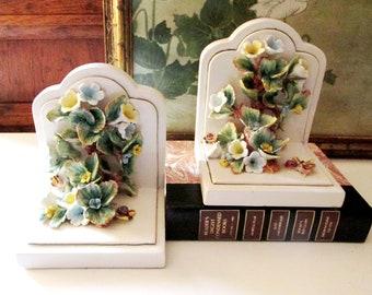 Vintage Italian Floral Bookends, Capodimonte Style Porcelain Ceramic Bookends, Meiselman Imports, Romantic Decor, Home Office Decor