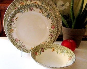 Mason's English Country Garden Ironstone Dinnerware, Green Trellis and Floral Plate, English Country, Easter Dinner Plate, Cottage Chic