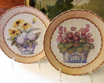 Two Chinoiserie Floral Plates, Wall Gallery Decor, Romantic Wall Plates, Formalities by Baum Bros, Decorative Plates