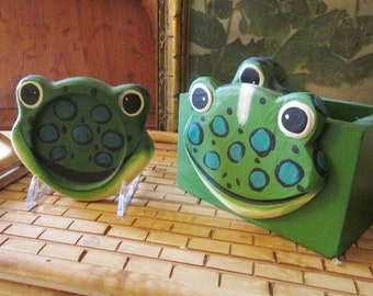 """Whimiscal Set of Four Hand Painted """"Frog"""" Theme Coasters with Storage Box, Novelty Coaster Set, Gift For Frog Collectors"""