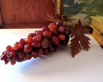Vintage Carnelian Stone Grape Cluster, Art Object, Coffee Table Decor, Stone Grape Bunch, Hollywood Regency