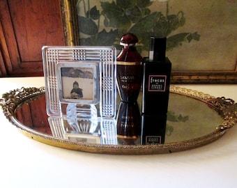 Gilded Mirror Vanity Tray, Vintage Oval Mirrored Tray, Hollywood Regency, Vanity Table Decor, Perfume Tray, Bathroom Tray