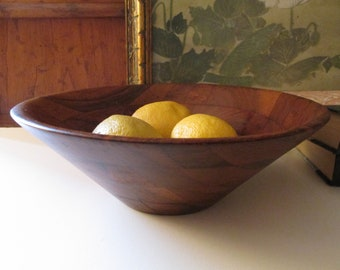 Vintage Burl Walnut Bowl, Billings, Missouri Wooden Fruit Bowl, Retro Wooden Serving Bowl No. 66